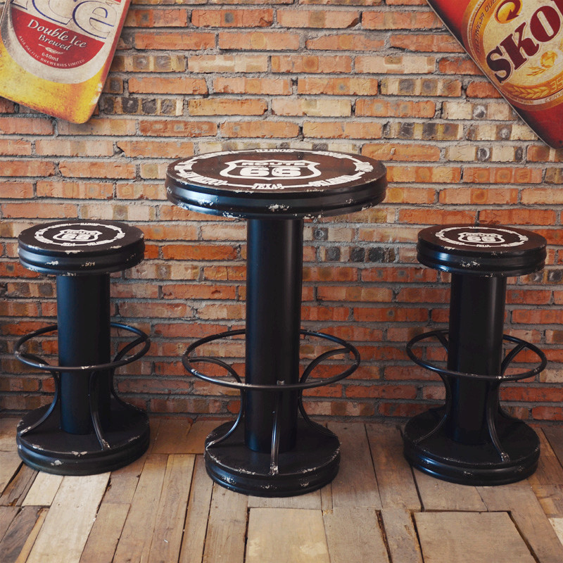 Creative bar bar tables and chairs wrought iron tables and chairs a set of highway 66 to do the old retro home accessories decoration