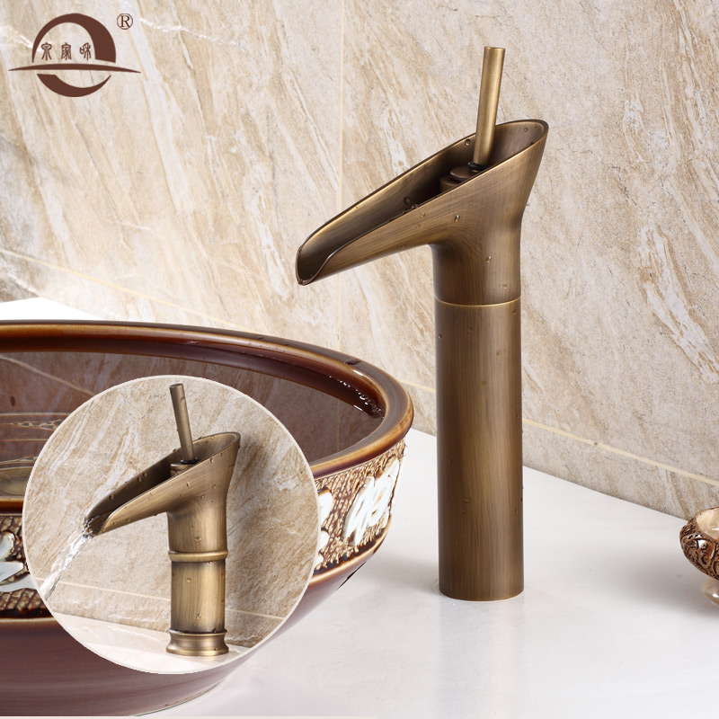 Creative bronze antique copper faucet hot and cold all copper basin waterfall faucet faucet retro glasses heightening paragraph