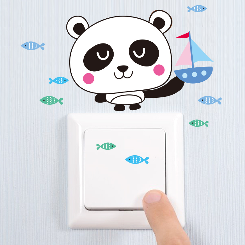 Creative cartoon cute animal switch stickers wall stickers children's room wall outlet decorative stickers panda klimts