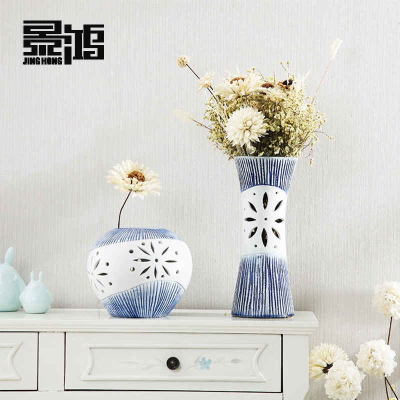 Creative ceramics living room tv cabinet modern minimalist european flower vase ornaments home decorations dried flowers