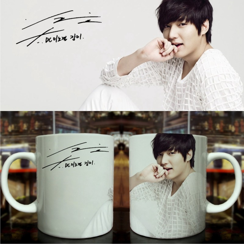 Creative cup mug cup handy cup with a lid korean lee min ho chromotropic heating cup custom photo mug custom