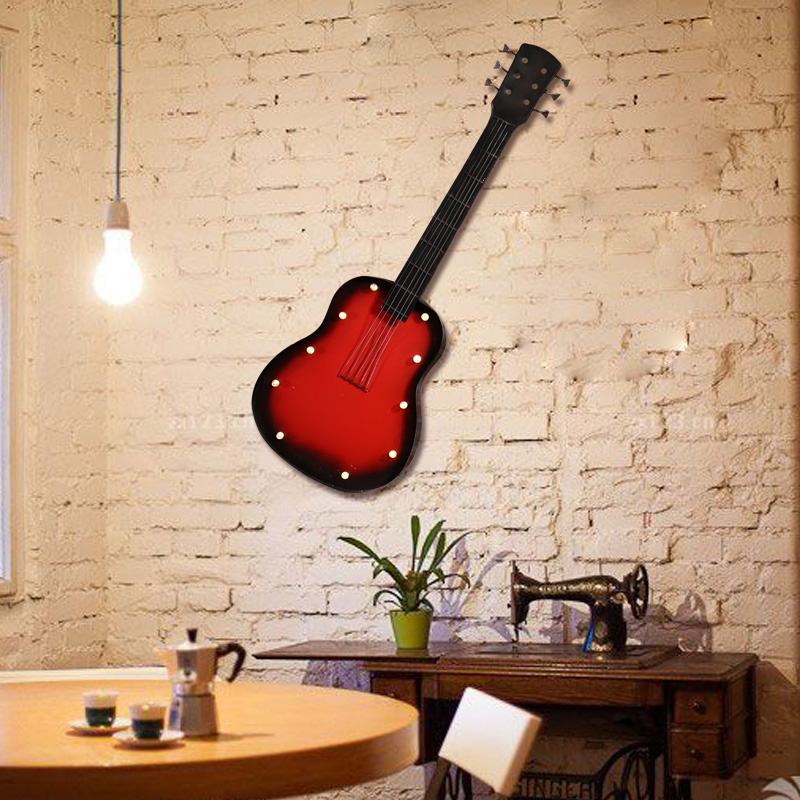 Creative home decorations soft guitar shape pendant retro led lamp wrought iron wall hangings cafe bar decorative wall hangings