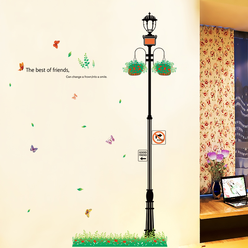 Creative home klimts decorations simple and modern living room entrance room wallpaper adhesive wall stickers street