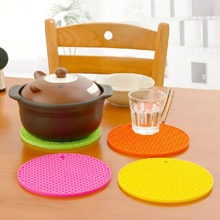 Creative home large slip silicone mat bowls mat insulation pad potholders kitchen table doily placemat coaster round