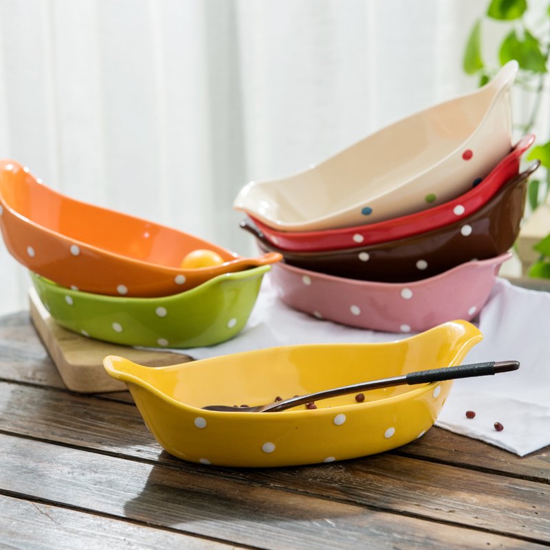Creative home rectangular ears baked baked rice bowl dish western ceramic dish cheese plate baking oven dish