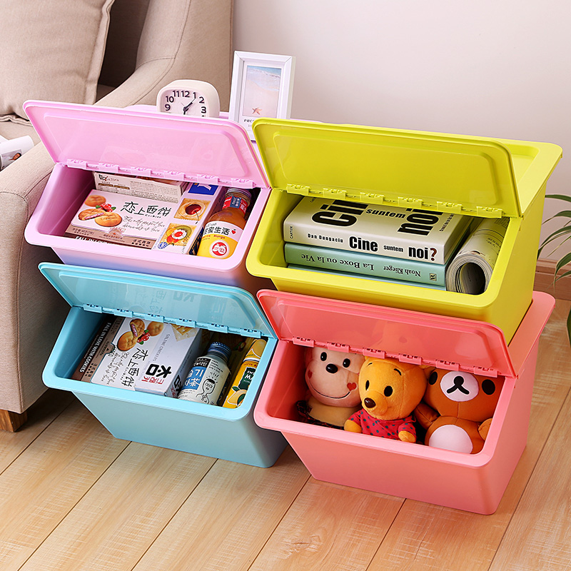 Creative large bevel clamshell plastic storage box debris sorting boxes of clothing storage box storage box covered thick storage box