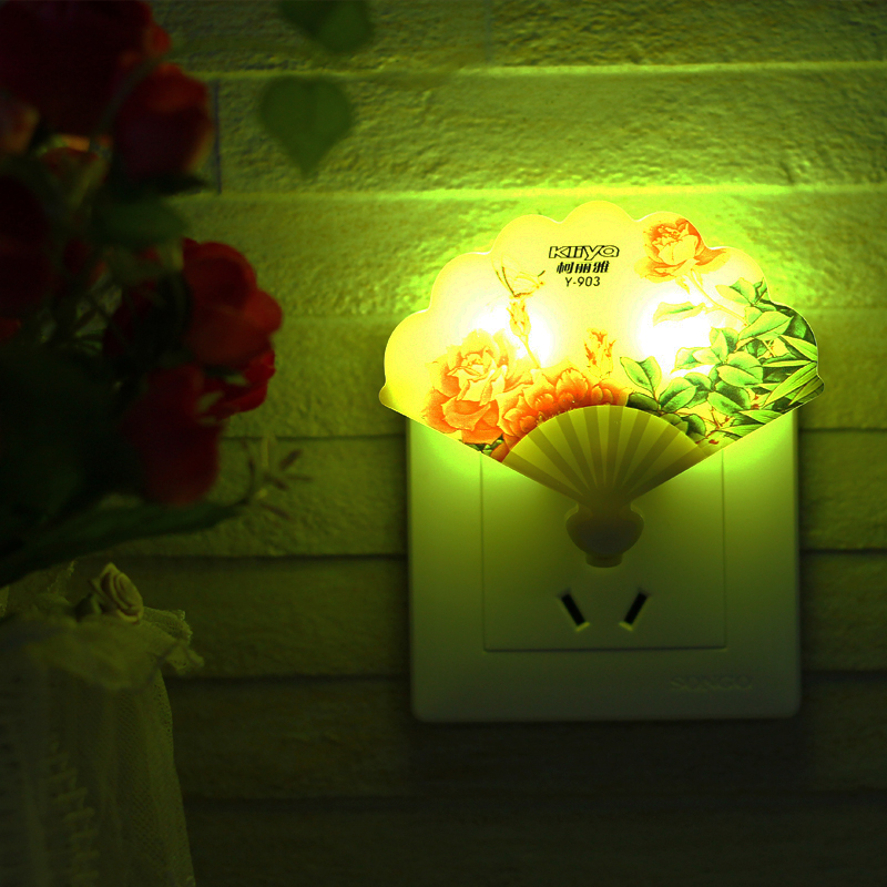 Creative led night light with switch bedside lamp bedroom living room lamp night light fan lights sunflowers