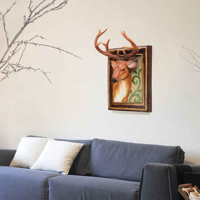 Creative living room decorative wall hangings dimensional deer minimalist fashion european pastoral retro wall painting decorative wall hanging