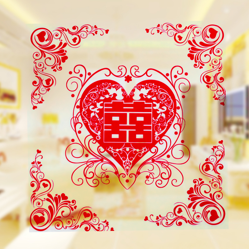 Creative marriage room decoration wedding supplies furnished door stickers grilles hi hi word stickers wedding wedding sets hi hi word static stickers lace