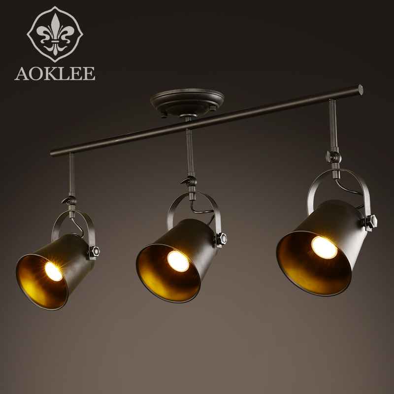 Creative personality industrial wind loft american retro track lights clothing store cafe bar sets off the iron led spotlight
