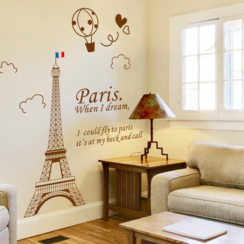 Creative personality of the eiffel tower in paris self adhesive wall stickers bedroom wall stickers cozy living room tv background wall decoration