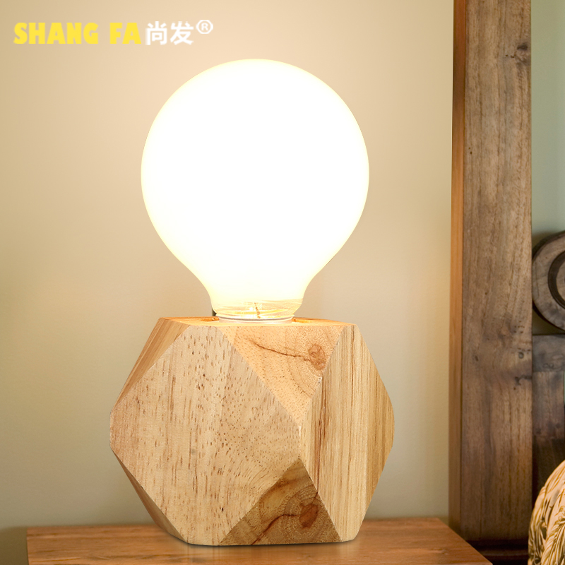 Creative small table lamp vintage wood wooden table lamp bedroom bedside lamps nordic ikea modern minimalist personality