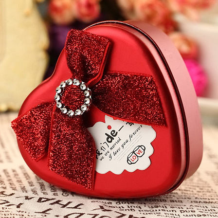 Creative wedding supplies wedding candy box personalized wedding candy box bow color green onions tinplate heart