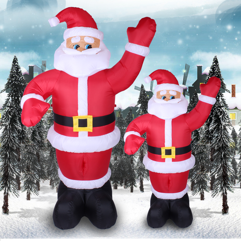 Creepy square christmas santa claus christmas decoration welcome christmas inflatable santa claus waving 1.8 m 2.4 m