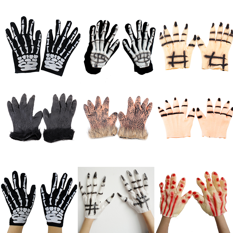 Creepy square masquerade halloween supplies props decorations horror ghost skeleton gloves gloves for men and women