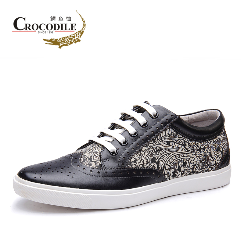 Crocodile 2015 spring korean fashion casual shoes tide shoes bullock carved leather men's genuine tide