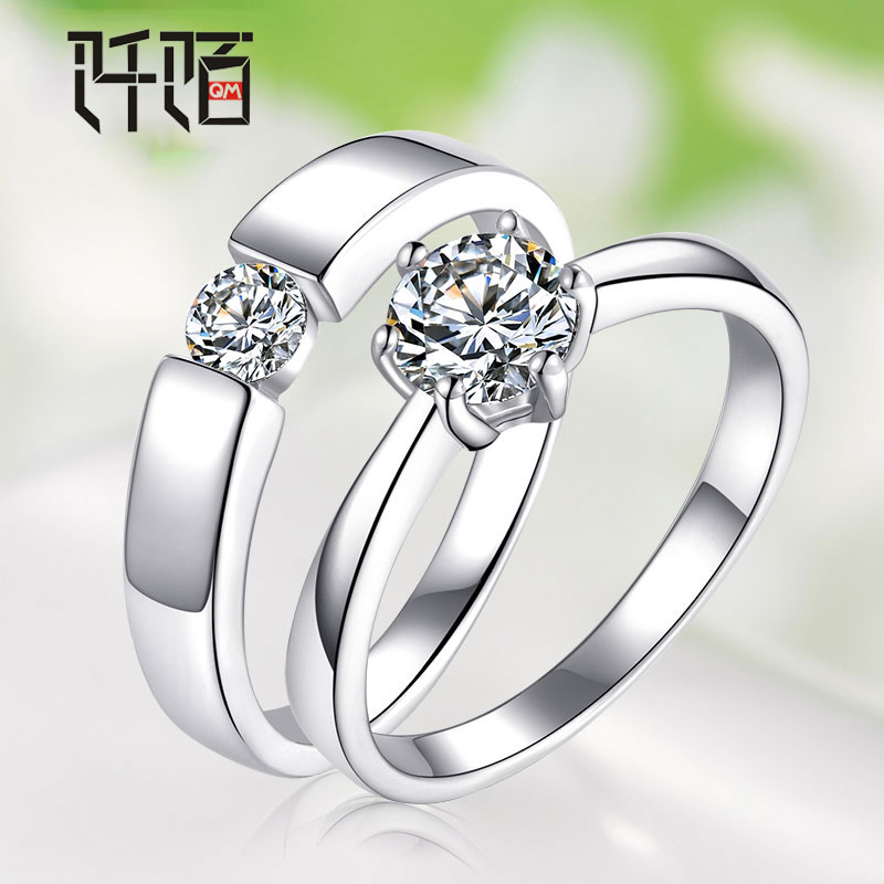 Crossroad 925 silver diamond ring simulation couple rings ms. ring opening korean men's glossy ring may lettering