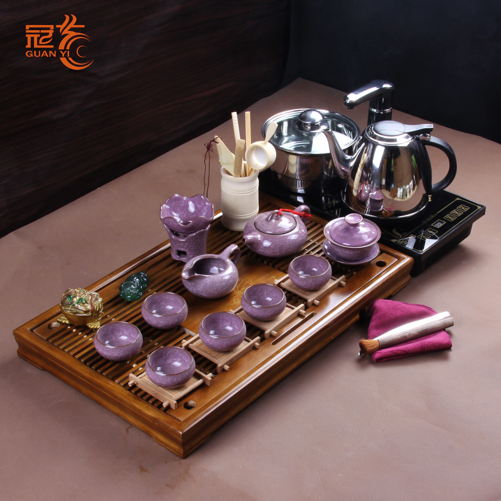Crown arts and colorful cup cup cup binglie glaze the entire kung fu tea set automatic hydro electric tea tray tea tray