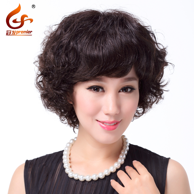 Crown hair full hand knit middle-aged mother wig wig short hair real hair wig female short hair wigs real hair fluffy