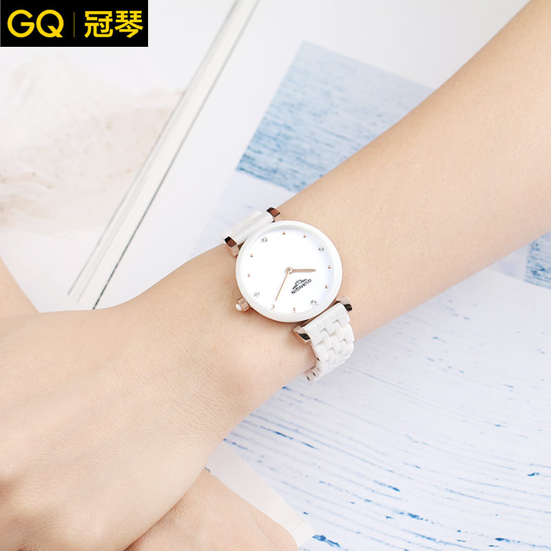 Crown piano authentic ceramic watches female fashion temperament simple decorative waterproof wrist watch fashion watch ladies watches