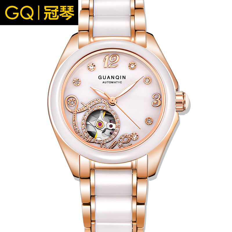 Crown piano authentic ceramic watches female korean fashion diamond ladies watch automatic mechanical watch waterproof hollow steel watch