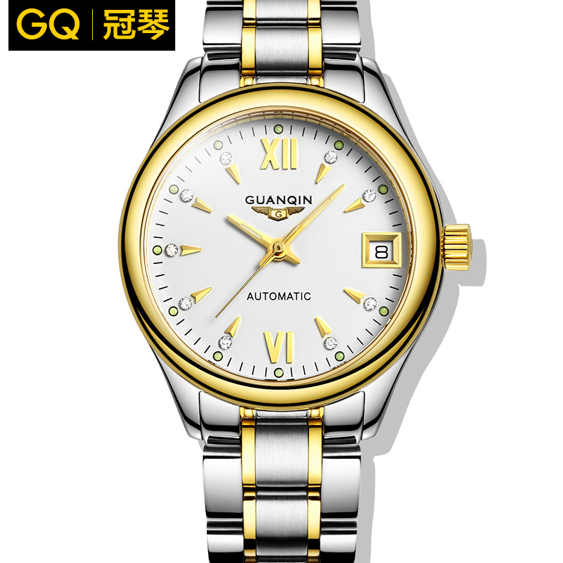 Crown piano authentic watches automatic mechanical watch female form diamond ladies watch steel belt female watch waterproof luminous thin