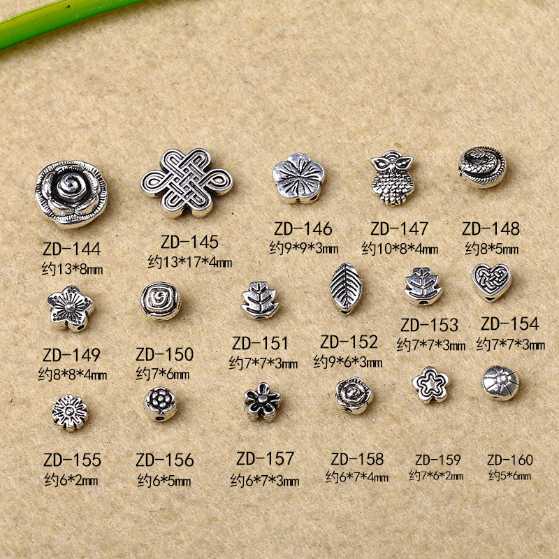 Crystal court tsz diy jewelry accessories tibetan silver miao silver spacer spacer beads bracelet diy handmade jewelry accessories