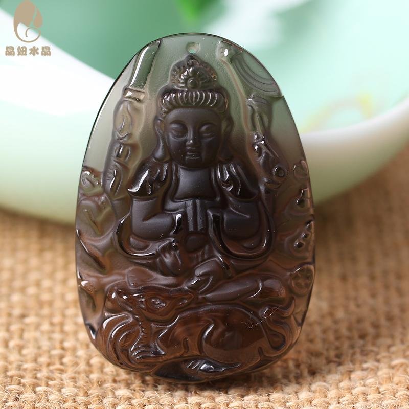 Crystal girl crystal obsidian pendant avalokitesvara bodhisattva rat zodiac natal buddha necklace men women twelve