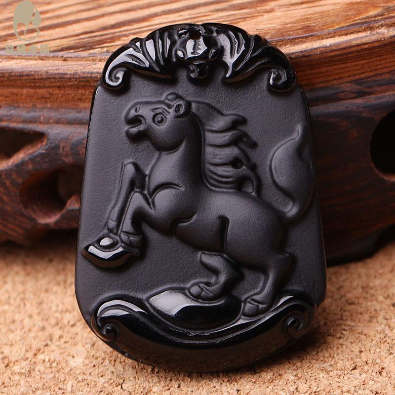 Crystal girl crystal obsidian twelve zodiac pendants men and women necklace rat ox tiger rabbit snakes pig horse sheep pig rabbit chicken Dog