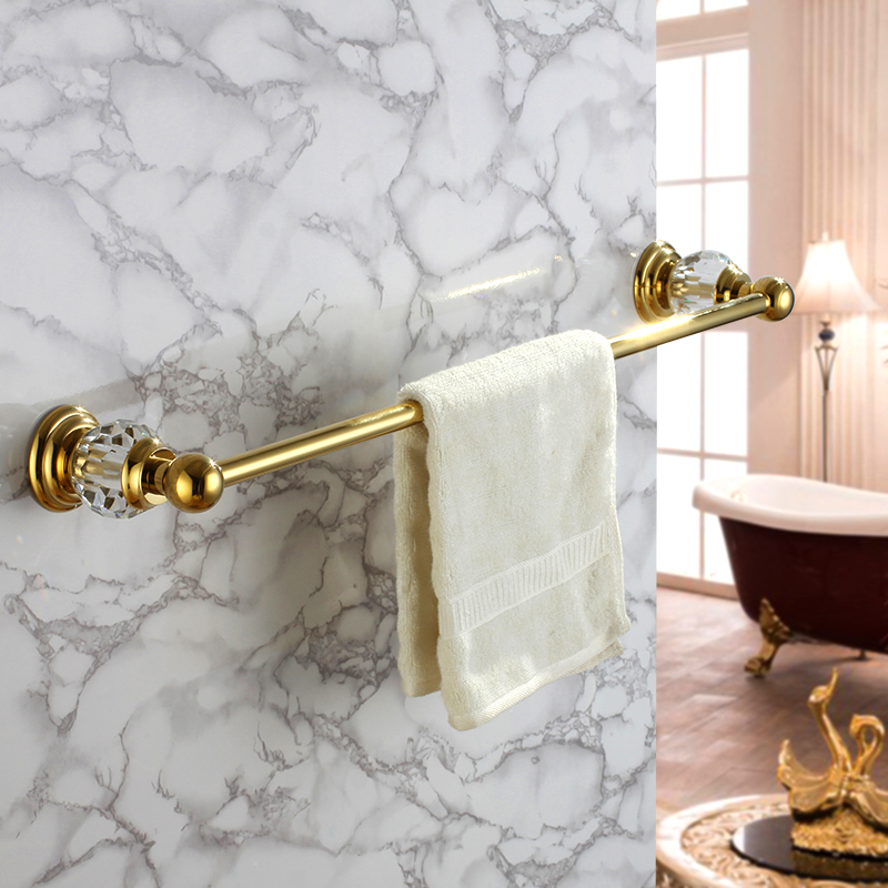 Crystal gold pendant bathroom hardware copper bathroom towel rack bathroom towel bar single towel hanging