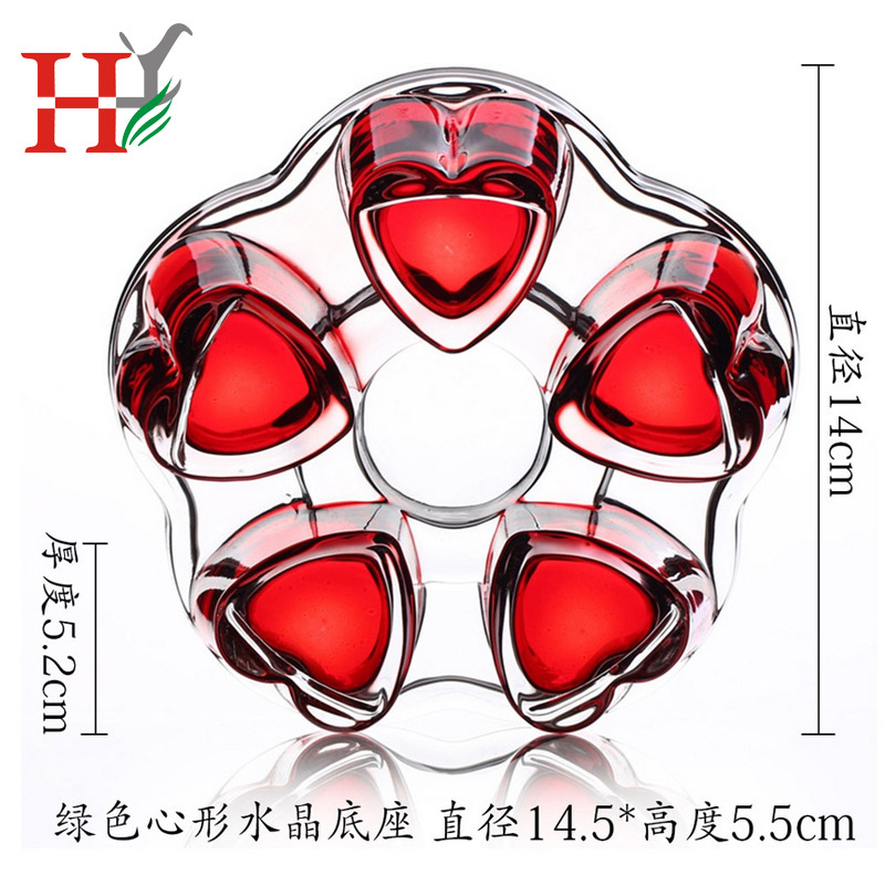 Crystal heart base glass insulation base warm tea plum hollow stainless steel heating base