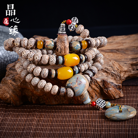 Crystal heart limbus shoushan stone buddha head tee xingyue bodhi accessories package accessories pu tizi 108 bracelets necklaces