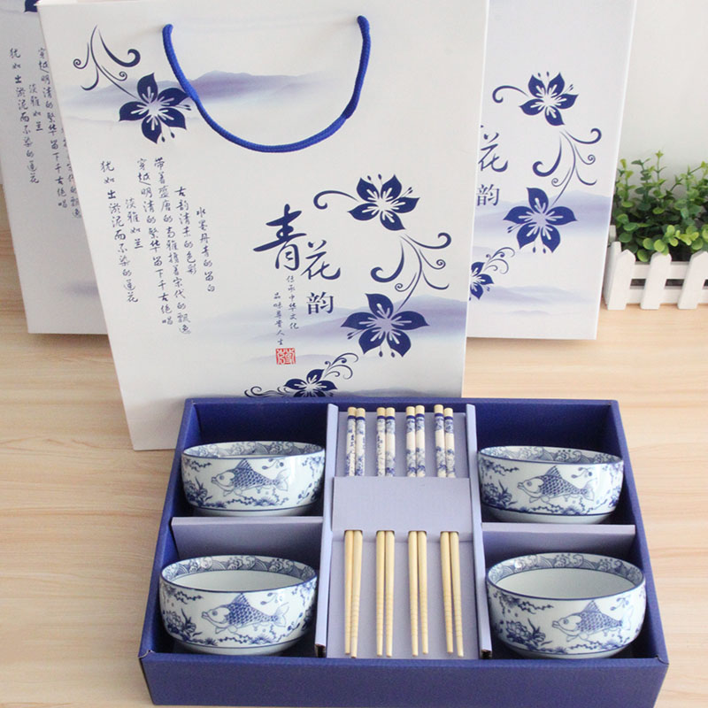 Custom blue and white rhyme chinese dish dishes ceramic tableware suit wedding favor housewarming gifts business gift box
