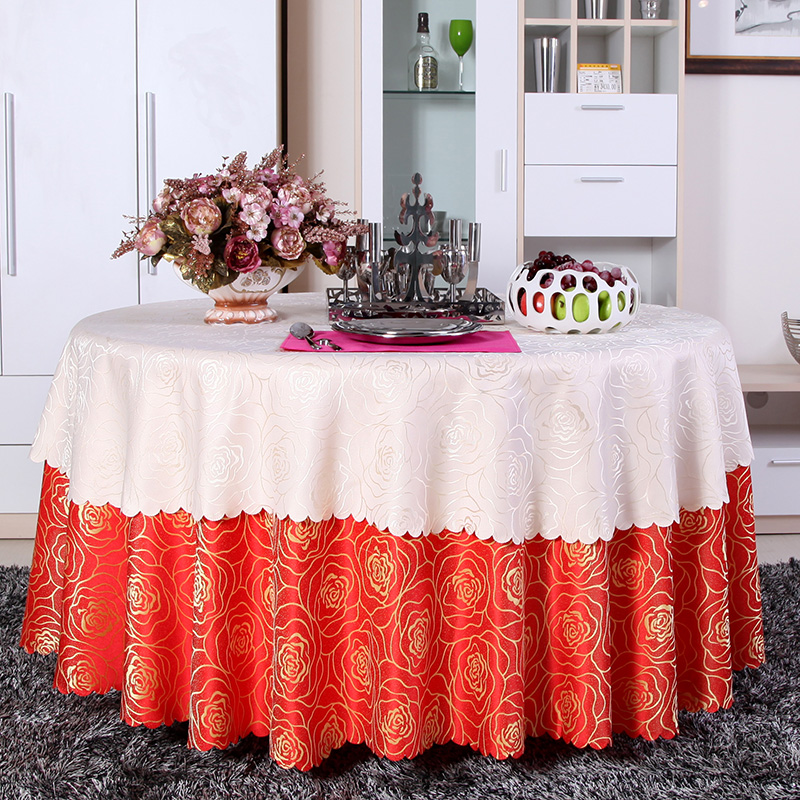 Custom hotel tablecloth round tablecloth table cloth pastoral coffee table cloth fabric wedding red color white tablecloth restaurant