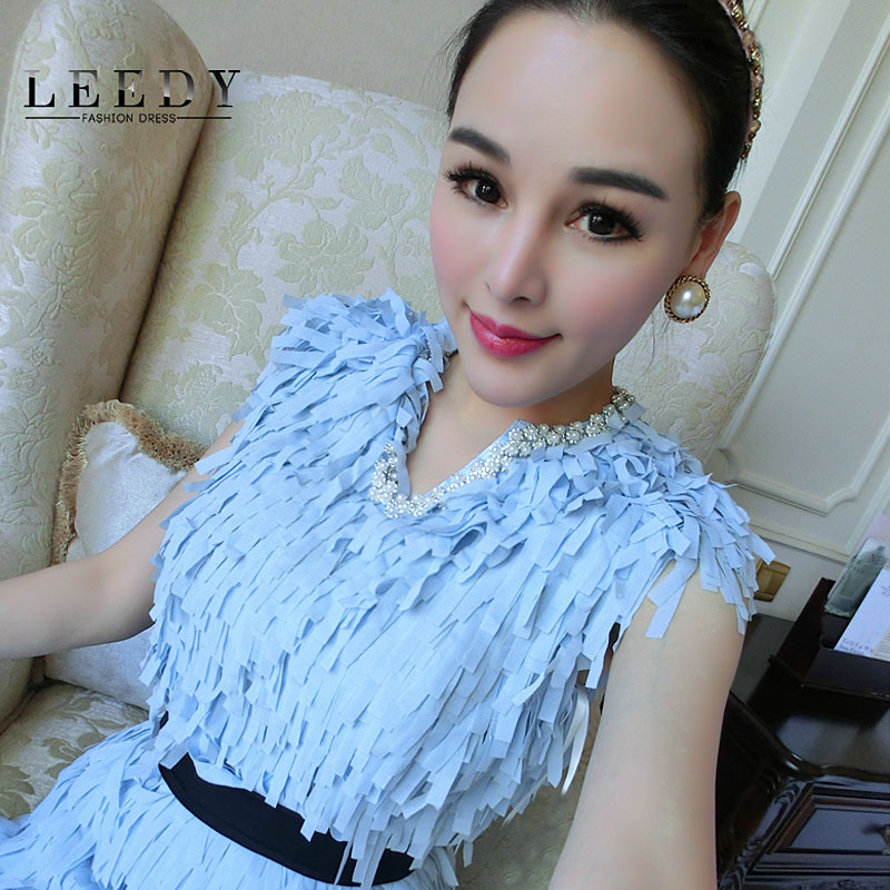 Custom leedy authentic dress 2015 fashion models in early spring women's pearl diamond chain with elastic yarn dress