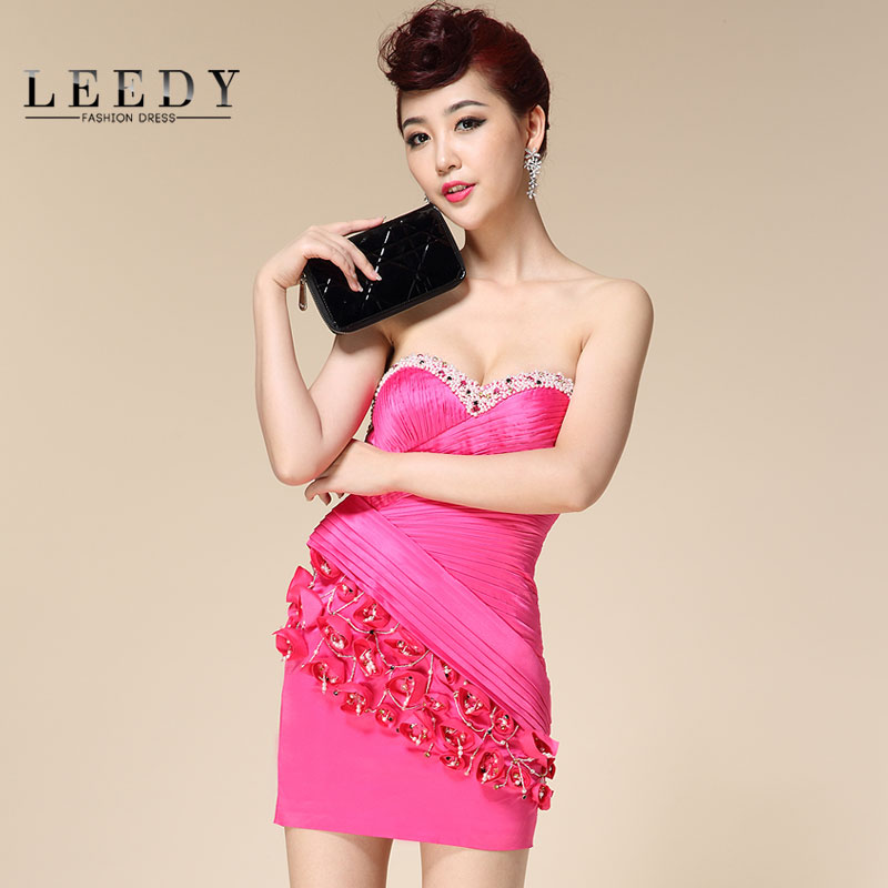 Custom leedy genuine new handmade beaded dress short paragraph evening dress party dress sexy package hip dress bra