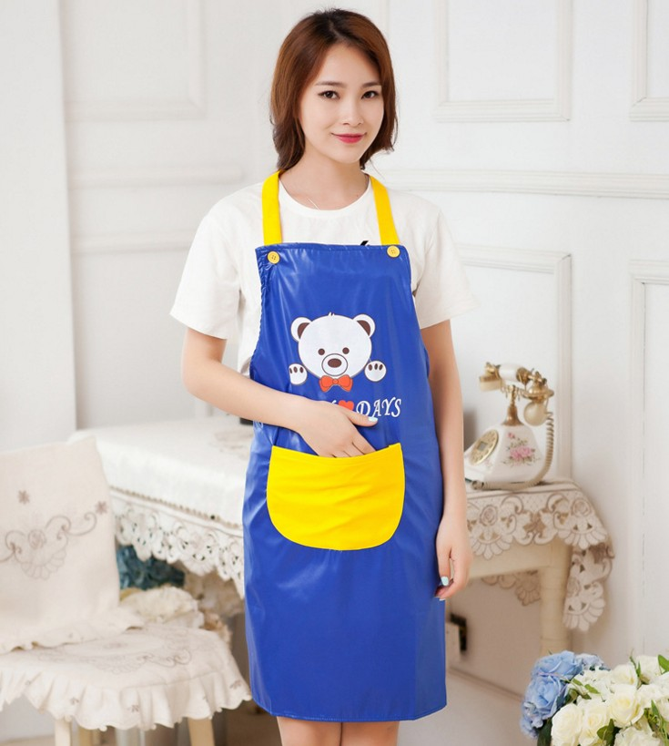 Cute cartoon bear simple and stylish shoulder strap sleeveless apron home kitchen water and oil repellency adult gowns show