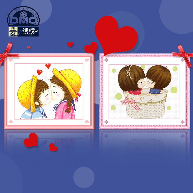Cute cartoon couple precise printing dmc cross stitch kit bedroom paintings kiss love a second election