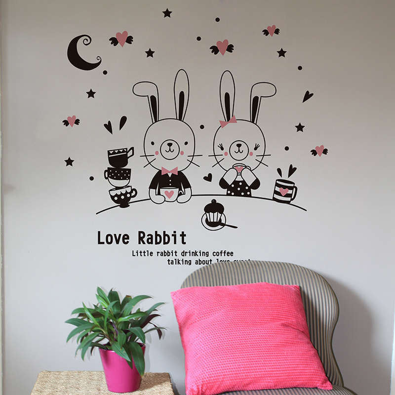 Cute cartoon moon and the stars love rabbit lovers love removable wall stickers funny stickers bedroom wall sticker