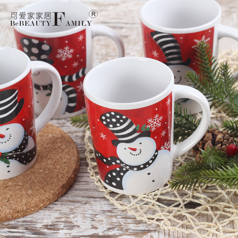 Cute cute snowman christmas house christmas decorations european red ceramic mug cup decorative cup