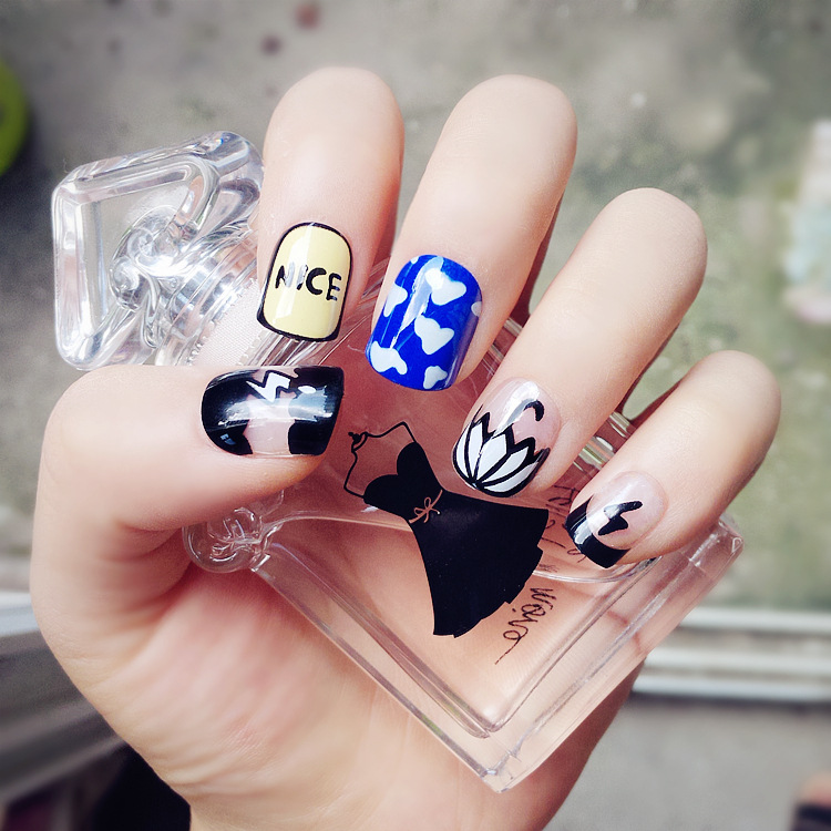 Cute little cartoon umbrella japanese short paragraph fake nails nail patch false nails finished piece free shipping fake nails