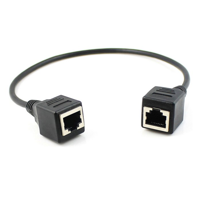 Cy rj45 female to female extension cable network through the extension cable network cable female to female extension cable black 40 cm