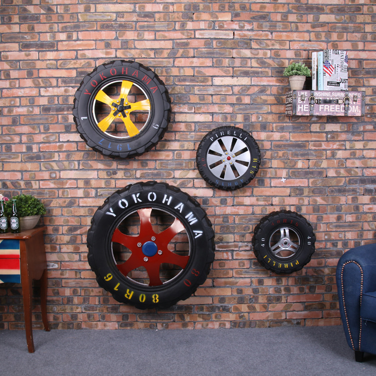 D bar cafe decorative wall hangings creative retro car tire when shang locomotive soft wall mounted wall hanging wall hangings