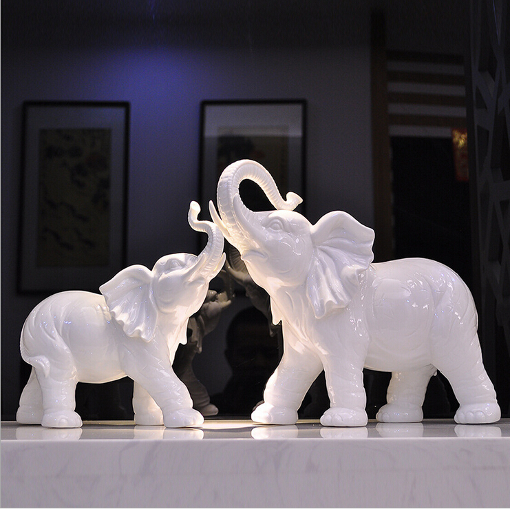 D creative home ceramic elephant ornaments european living room tv cabinet ornaments crafts furnishings lucky feng shui