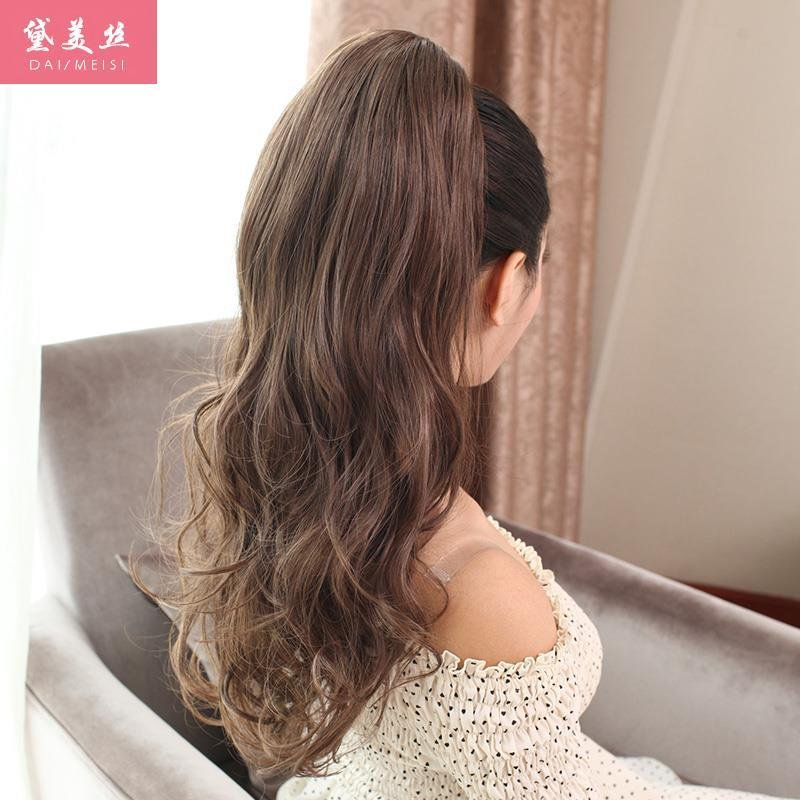 Dai meisi fake ponytail wig long curly hair wig lifelike female fluffy fake ponytail claw clip ponytail hair tresses horse tail