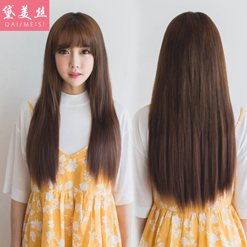 Dai meisi female air bangs wig liu qi long straight hair fashion female korean version of slim big scalp wig
