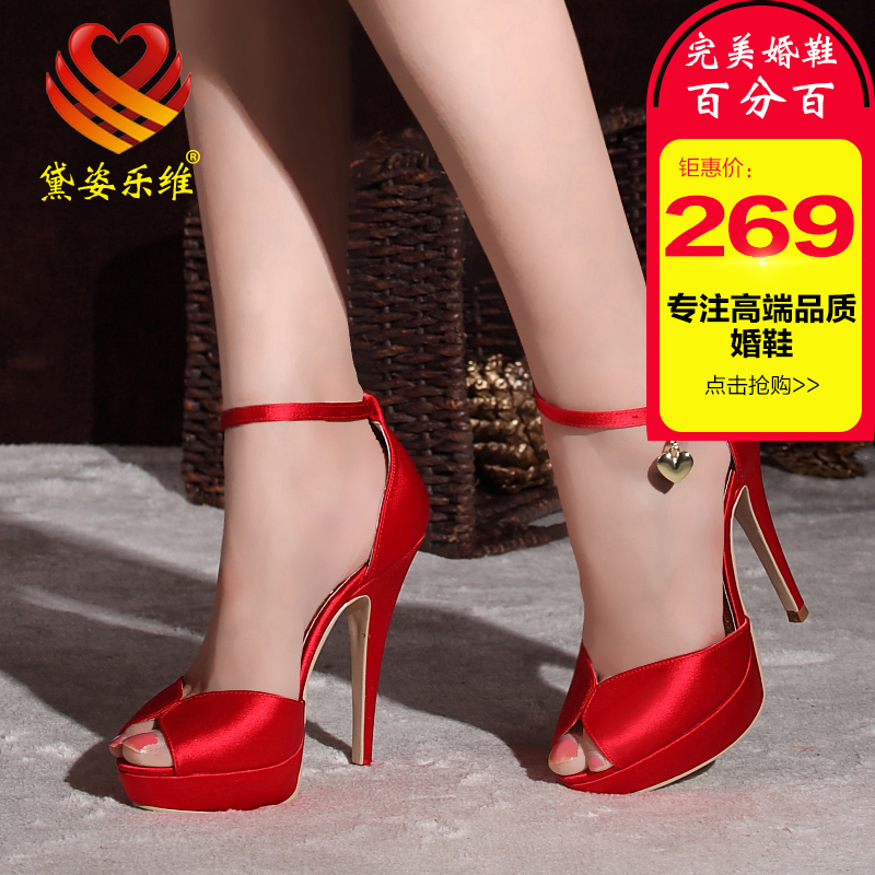Dai zi levay satin wedding shoes fish head sandals sexy high heels shoes red bridal shoes dress shoes wedding shoes in europe and america