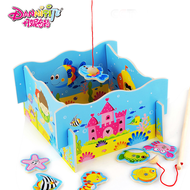 Danielle strange magnetic fishing fun toys years old baby child interaction scuffle ensued child wooden magnetic toys