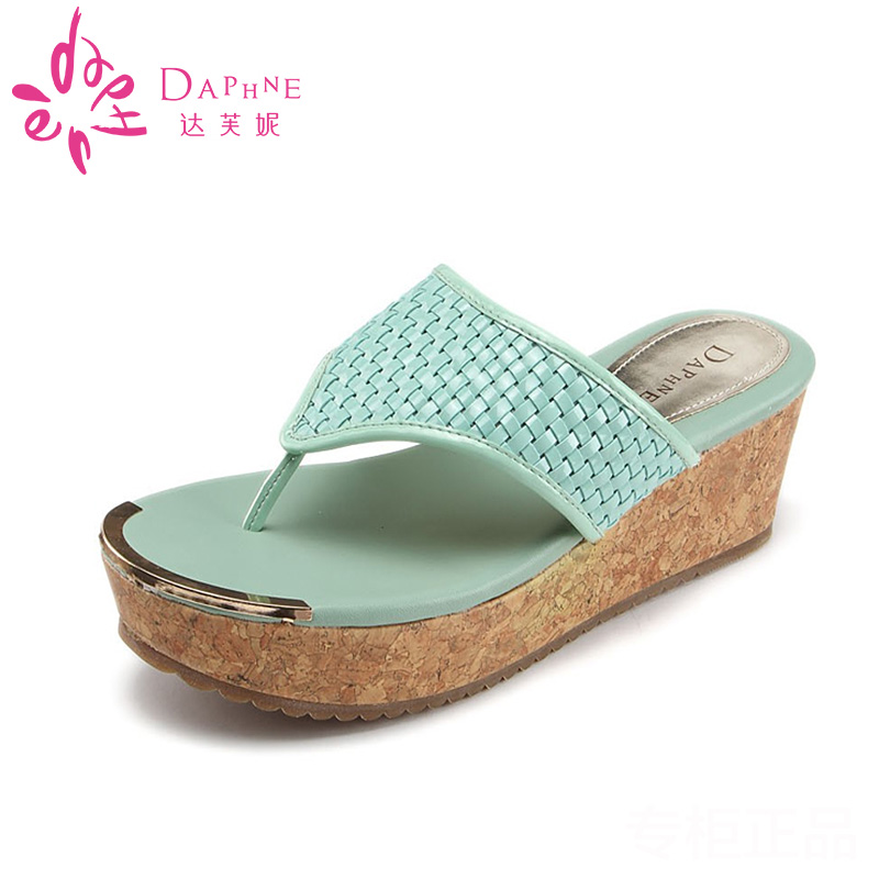 Daphne/daphne genuine summer sandals slope with stylish and comfortable candy color clip toe sandals specials