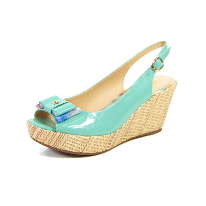 Daphne/daphne summer new casual ms. slope with high heels bow fish head sandals